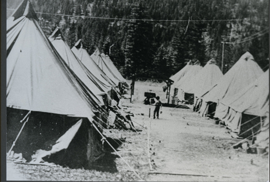 Early Tent Housing Slocan 1942